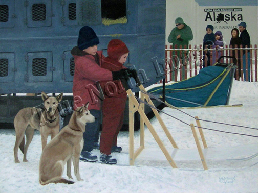 painting of Iditarod 2 Children and Dogs