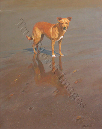 painting of terrier on the beach
