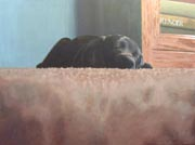 black labrador puppy asleep on the carpet painted pet dog portrait
