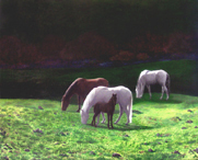 horses grazing at dusk painted pet horse portrait