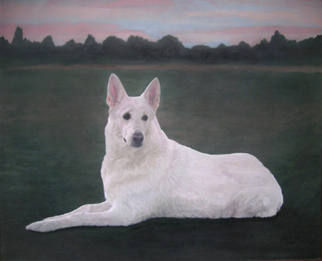 white shadow german shepherd painted pet dog portrait